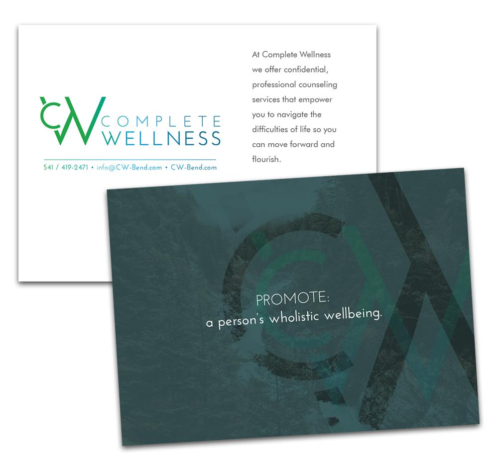 Complete Wellness brand postcards